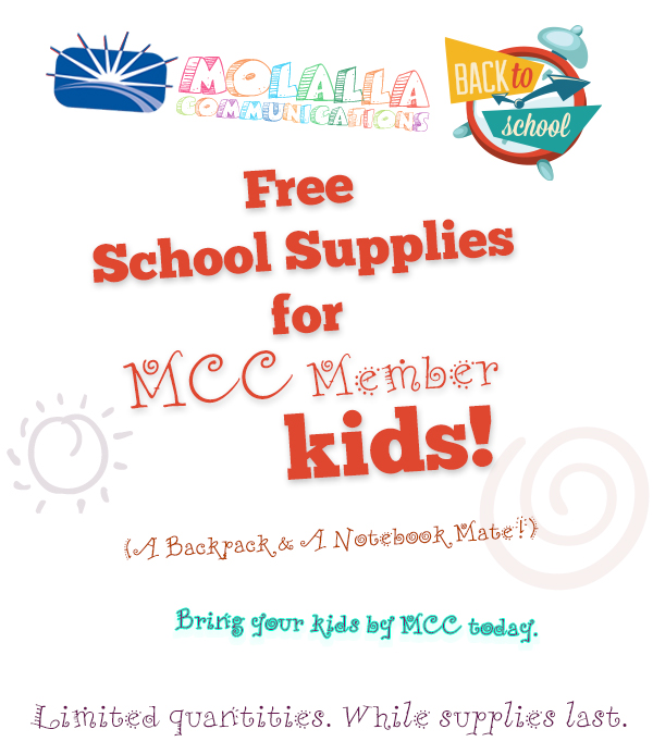 Free backpack and notebook mate for MCC Member kids. Limited quantities. While supplies last. Stop by MCC today.