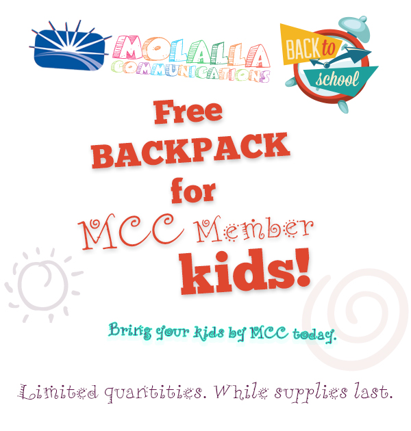 Free backpacks for MCC Member kids. Limited quantities. While supplies last. Stop by MCC today.