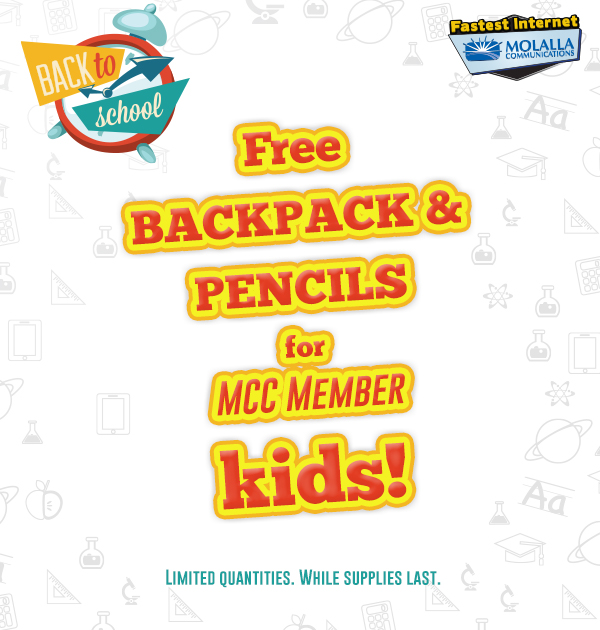 Free backpack and pencils for MCC Member kids. Limited quantities. While supplies last.